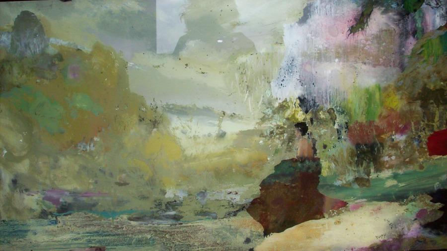 La Rivière de Janvier - 50*100 cm - Huile sur verre - 2008