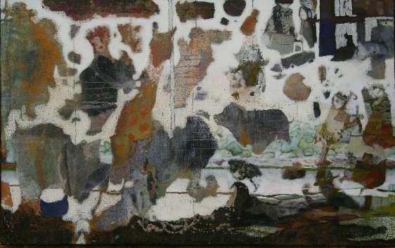 Le Manège - Cire sur toile - 160*100 cm - 2004