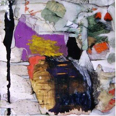 Rêve d'Orient - 50*50 cm - Collages et cire sur bois - 2004