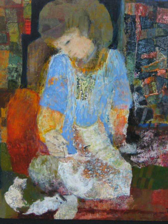 La fillette aux chatons - 35*35 cm - Collages et cire sur bois - 2007