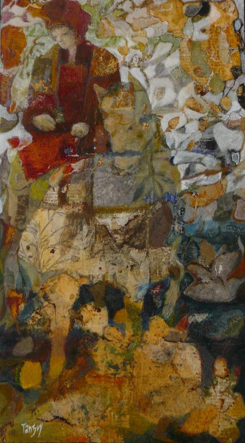 La Volte - 20*35 cm - Collages et cire sur bois - 2009