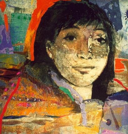 Portrait (Collages et cire sur bois - 2002)