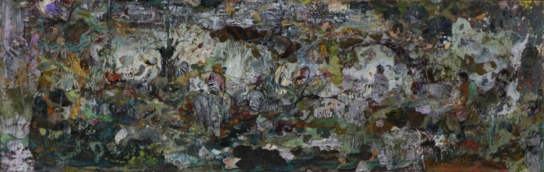 La cavalcade-122X39 cm-cire sur bois-2013