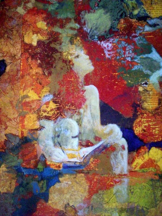 La dessinatrice - Collages et cire sur bois - 2008
