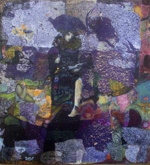 Carnaval - 35x35 cm - Collages et Cire sur bois - 2009