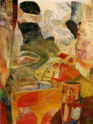 Un Dimanche - 61*46 cm - Collages et cire sur bois - 2004