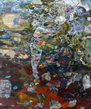 Concerto - 66x56 cm - Cire sur papier maroulfé sur bois (2015)