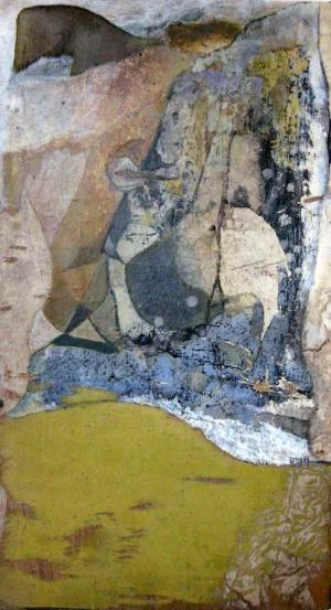 La Pierre Procureuse - 30*53 cm - Collages et cire sur bois - 2004