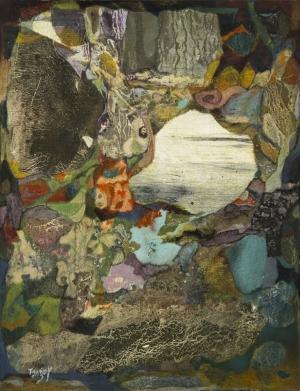 La Grotte – 37*25 cm – Collages et Cire sur toile – 2010