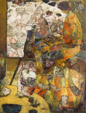 Peintre à l'atelier – 34*25.5 cm – Collages et Cire sur bois – 2010
