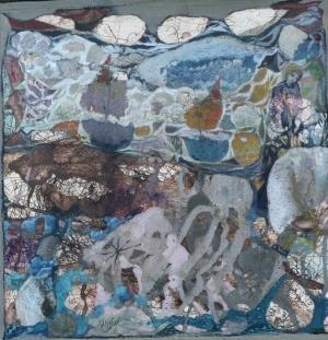 Légende de la mer - 30*30 cm - Cire sur papier marouflé sur bois - 2012