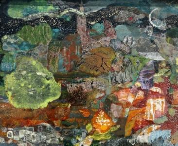 Conversation aux étoiles -  35x27.5 cm – Cire sur bois – 2013