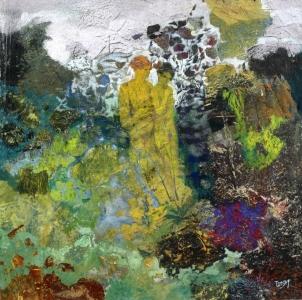 Les amants jaunes - 49x49 cm - Cire sur toile - 2012