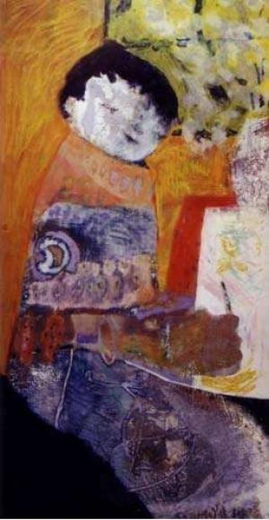 Enfant dessinant - 40*80 cm - Cire sur bois - 2001